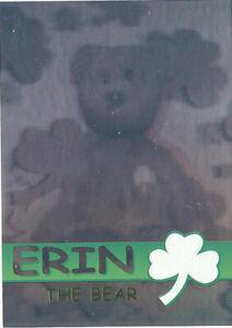 TY Beanie Babies BBOC Card - Series 2 Rare Bear (GREEN) - ERIN (#/4444) - NM/M