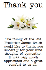 Personalised Photo Paper Card Funeral Thank You Cards Notes Sympathy