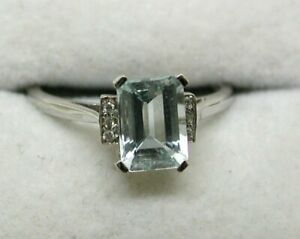 Lovely-18-carat-White-Gold-Aquamarine-And-Diamond-Ring-Size-N