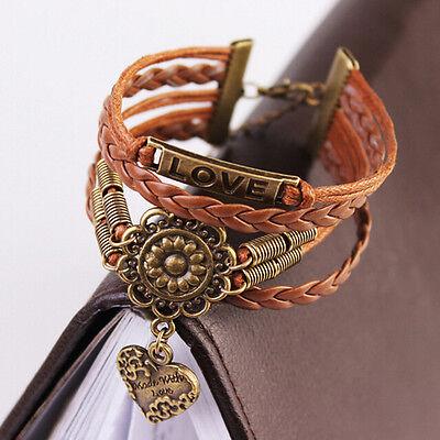 1pc Infinity LOVE Heart Flower Friendship Antique Copper Leather Charm Bracelet