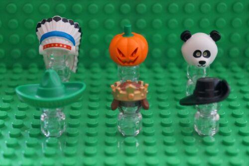 LEGO 6 HATS HEADGEAR FOR MINIFIGURES plume,pumpkin,panda,sombrer,crown,musketeer