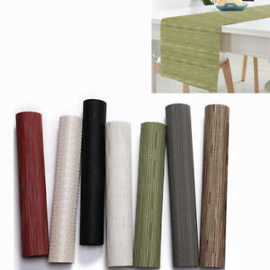 Table-Runner-Bamboo-Woven-Tablecloth-PVC-Insulation-Placemat-Kitchen-Mat-Decor