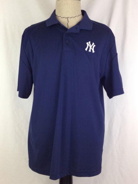 New York Yankees Polo Shirt Mens L Size Blue Baseball Majestic MLB AL Polyester