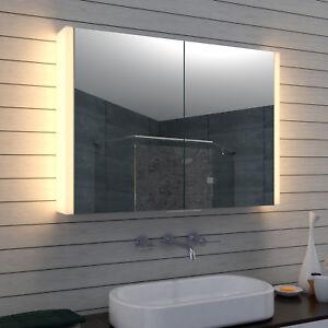 Details zu Weiß Aluminium LED Badezimmer Bad Wand Hänge Schmink Licht  spiegel schrank 100