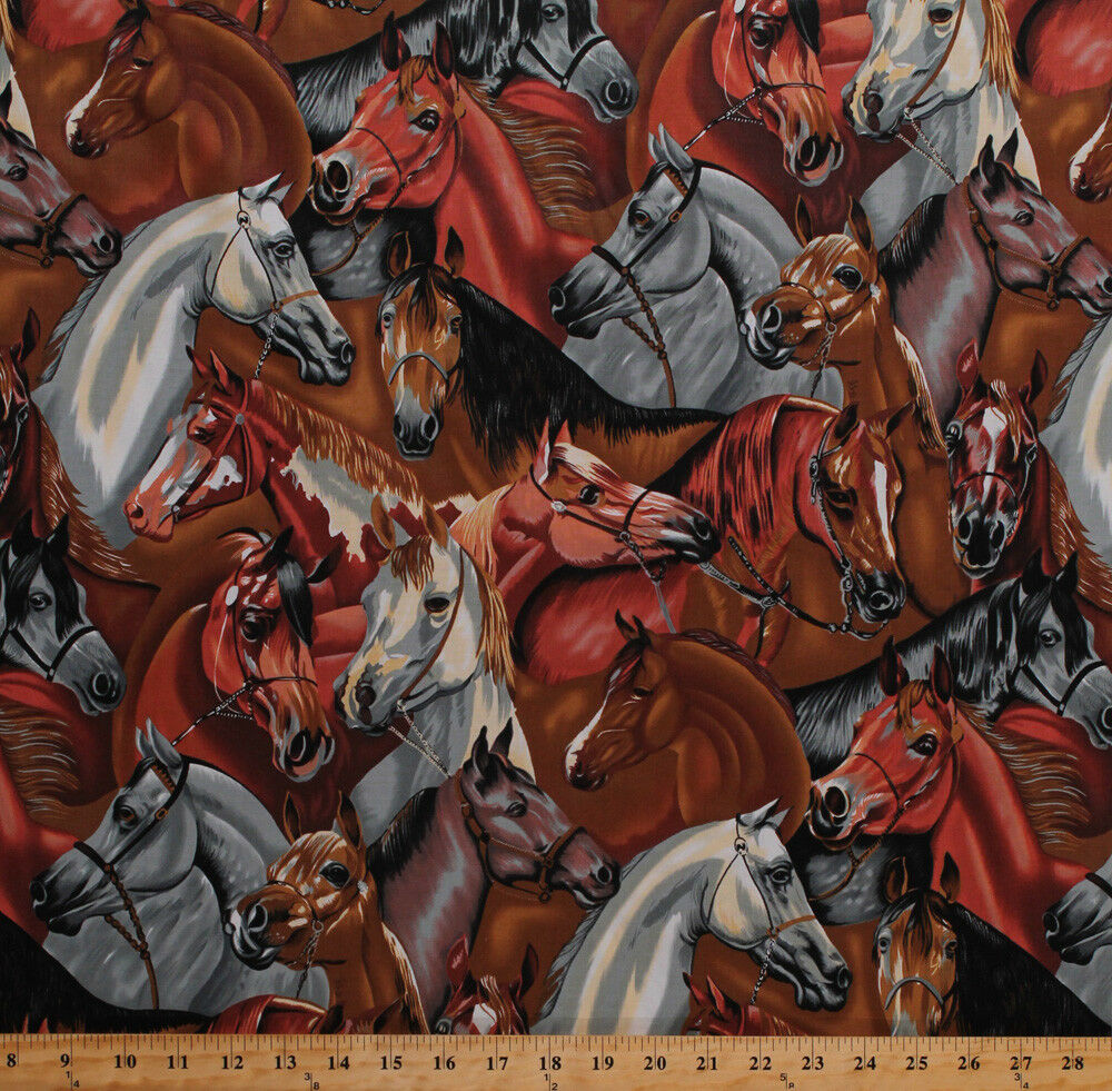 Horses Equestrian Packed Farm Animals Brown Cotton Fabric Print by Yard D766.45