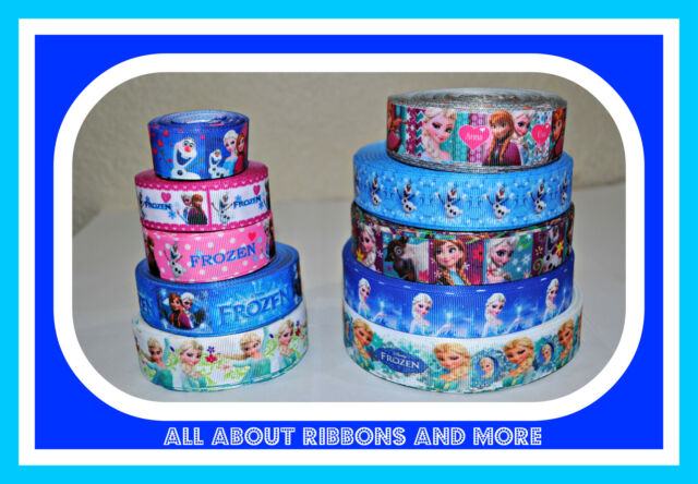 **HOT SALE**10 YARDS DISNEY FROZEN GROSGRAIN RIBBON- ELSA,ANNA,OLAF -MIXED LOT 1