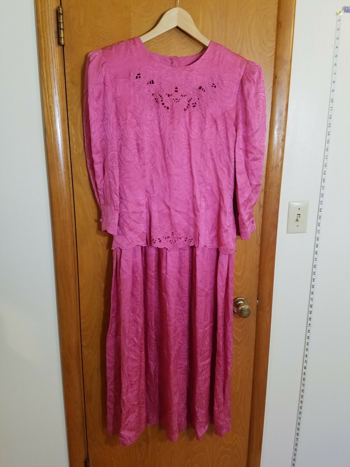 Nancy Johnson women pink pink silk dress paisley sz 12 Large mother of the bride