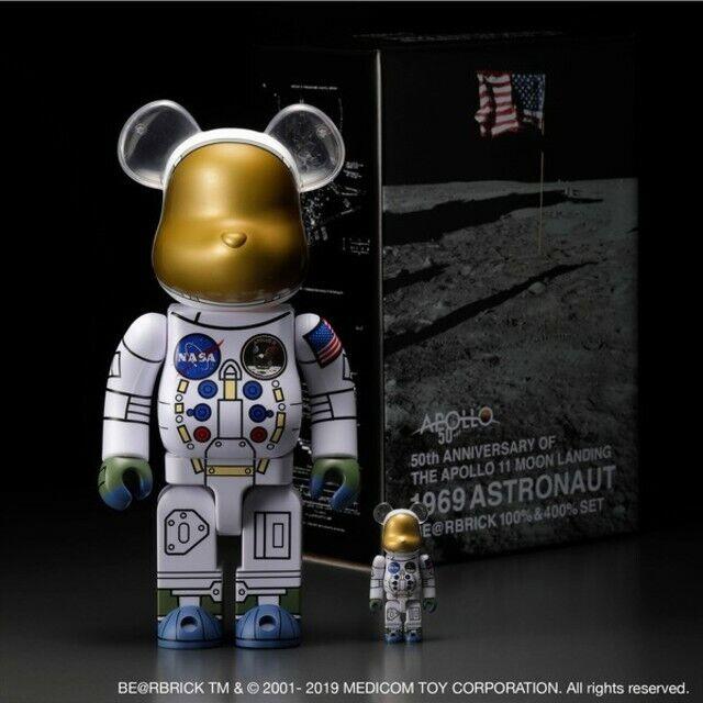 1969 Apollo ASTRONAUT BE@RBRICK 100% & 400% BEARBRICK NASA 50th Anniversary