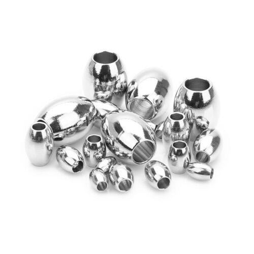 50 Pcs Oval Spacer Bead Stainless Steel Big Hole Charm Bead DIY Jewelry Making