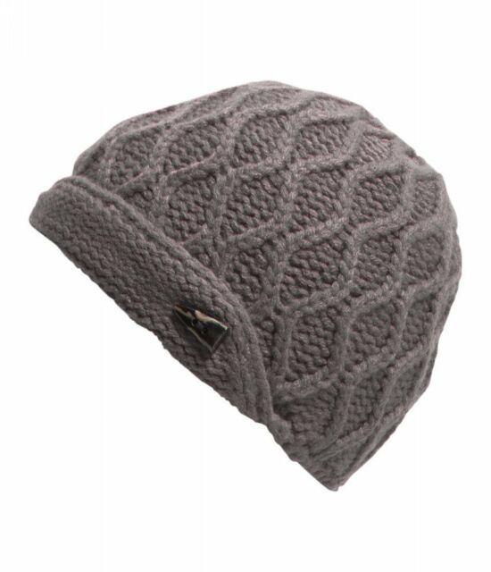 The North Face Women Side Cable Beanie W/ Toggle Button 100% Acrylic Rabbit Grey