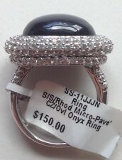 GORGEOUS 925 Sterling Silver Onyx & Pave CZ Dome Ring Rhodium Plate sz7 NWT $150