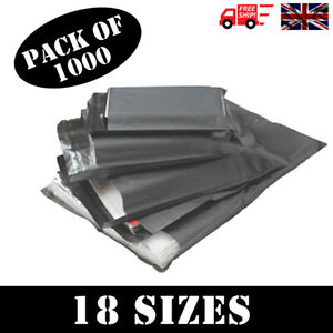 1000-x-STRONG-QUALITY-GREY-POLY-MAILING-BAGS-POSTAGE-POSTAL-SELF-SEAL-18-SIZES