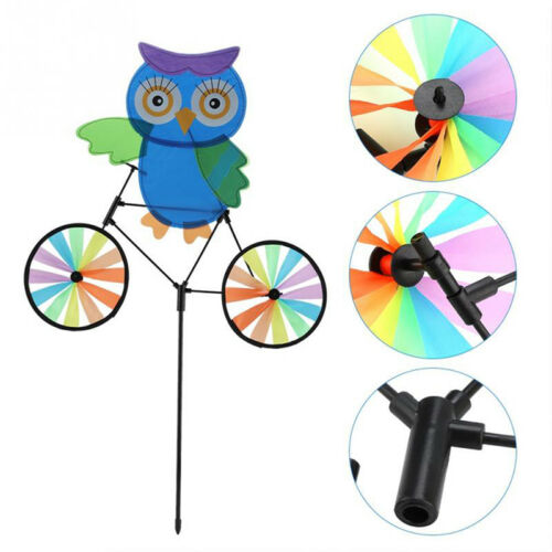 3D Animal on Bike Windmill Wind Spinner Whirligig Garden Lawn Yard Ornament CB