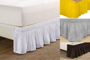 Elastic-Wrap-Around-Dust-Ruffled-Bed-Skirt-Bedding-Bed-Dressing-Easy-Fit-14-034-Drop