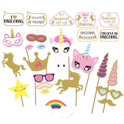 UK Birthday Party Unicorn Pegasus New Born Photo Booth Props On Stick Selfie