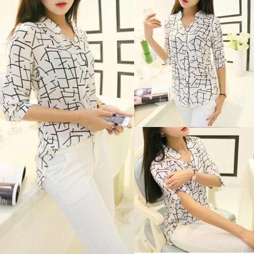 Korean Fashion Women 3/4 Sleeve Elegant Print Chiffon Shirts Tops Summer Blouses