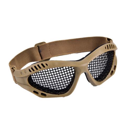 Outdoor Paintball Goggle Airsoft Metal Mesh Glasses Eye Protection Khaki KI