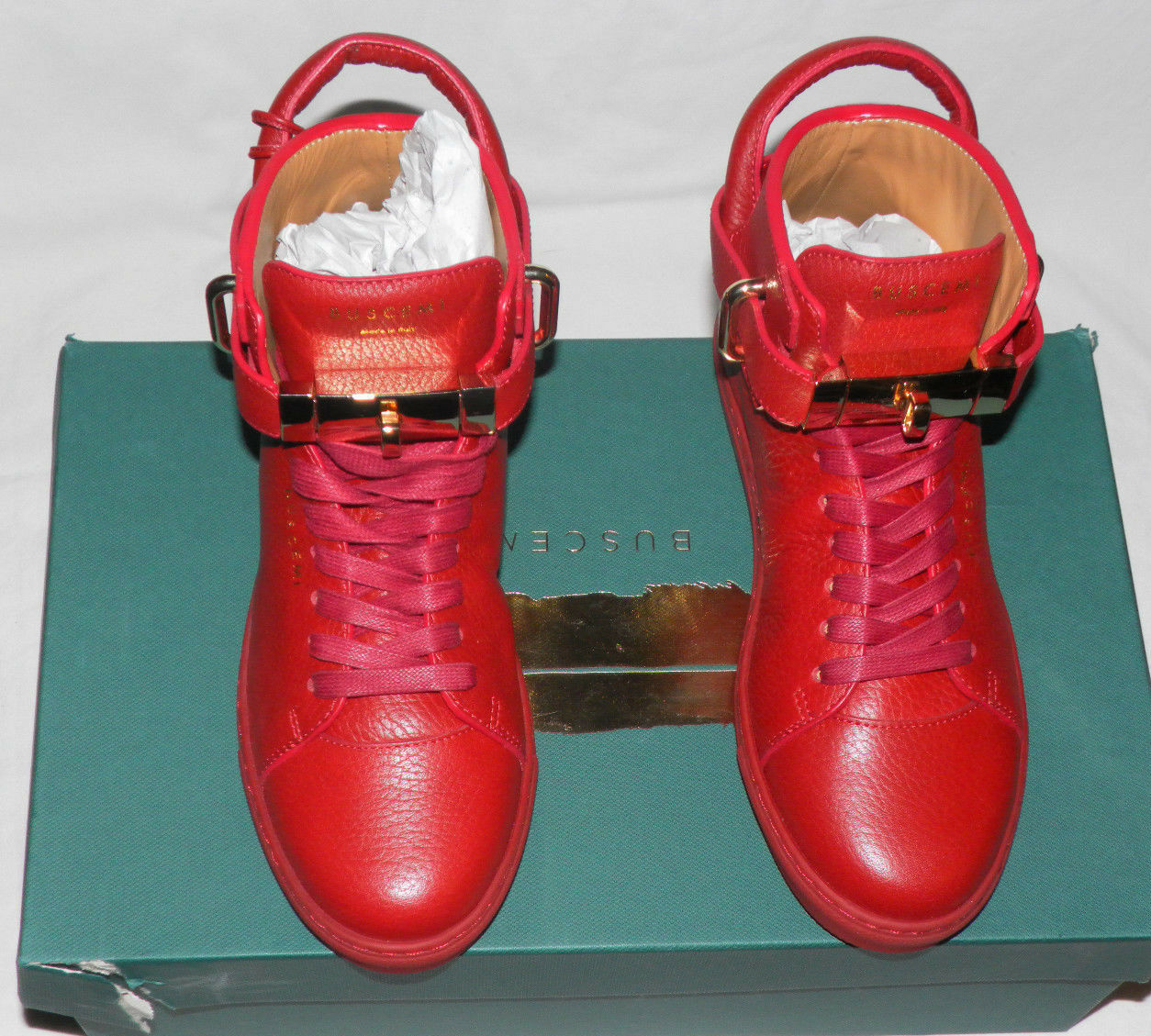 BUSCEMI 100MM TURNLOCK HIGH-TOP RED LEATHER WOMEN SNEAKER SHOES Sz. 37IT 7US