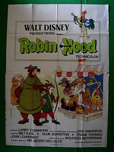 M27 Manifesto 4F Robin Hood Walt Disney Animation 1° Ausgabe Italienisch 1974