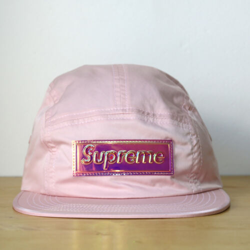 Supreme 5 Panel Iridescent Logo Camp Cap Pink Casquette Rose Box Logo