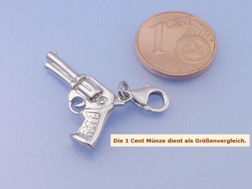 Real 925 plata einhänger charm pistola revólver rhodiniert vollmasiv en 3d