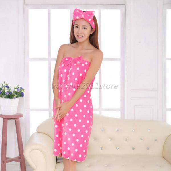 Microfiber Women Girls Soft Shower Body Spa Bath Wrap Towel Bathrobe Bath Robe