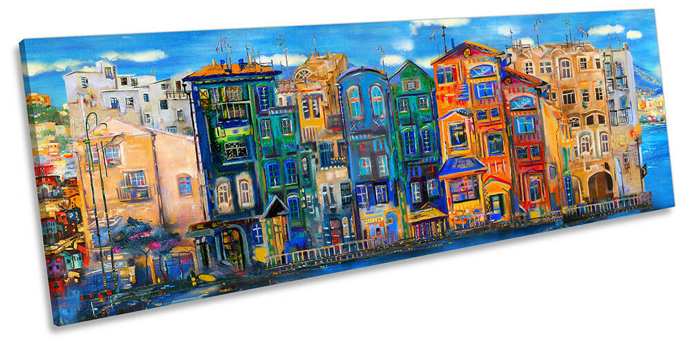 Stadtscape Skyline Paint Repro PANORAMA CANVAS Wand KunstWORK Drucken Kunst