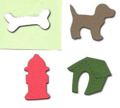 20 Dog lover mini accucut die cuts Dog Kennel Bone Hydrant 4x3.5cm card making