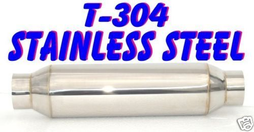 "T304 STAINLESS STEEL GLASSPACK RESONATOR MUFFLER 2.25/"" id//od 15/"" Long"