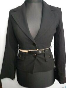 Hobbs-schwarz-100-Wolle-Anzug-schwarz-Jacke-Blazer-UK-8-Buero-Belted-Karriere