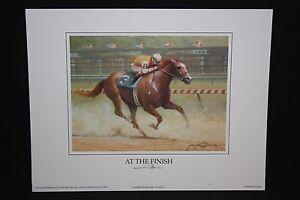 "AT THE FINISH Horse Print James L. Crow 9"" x 7"" Keeneland Lexington KY"