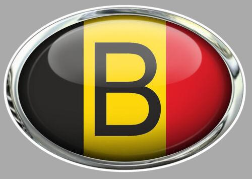 OVALE DRAPEAU BELGE BELGIQUE BELGIUM 15cm AUTOCOLLANT STICKER AUTO MOTO OA043