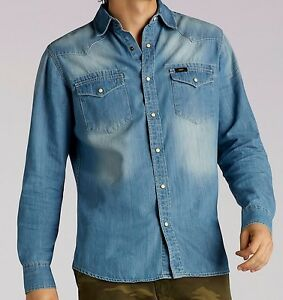 73eef8e1bf New LEE LONG SLEEVE VINTAGE WASH WESTERN DENIM SHIRT Men s Sizes S ...