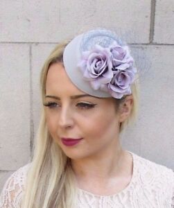 Image is loading Grey-Lilac-Rose-Flower-Pillbox-Hat-Fascinator-Races- a232cccf6fb