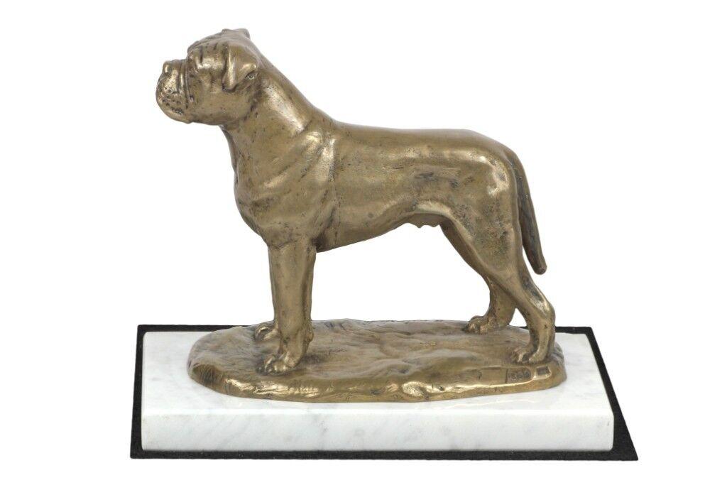 Bullmastiff - figurina con un cane su marmo bianco Art Dog IT
