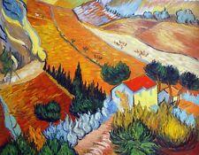 """Van Gogh Replica Oil Painting - Paysage avec une maison et un laboureu - 36""""x28"""""""