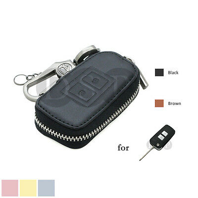 Genuine Cow Leather Zipper Bag Cover Holder fit for KIA Flip Remote Key 3B 5102