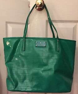 Image Is Loading Kate Spade Green Perforated Patent Pvc Tote Per