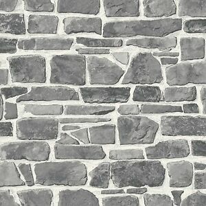 Gris-Pared-de-Piedra-Papel-Pintado-Rasch-265620-Nuevo-Muro-Elemento