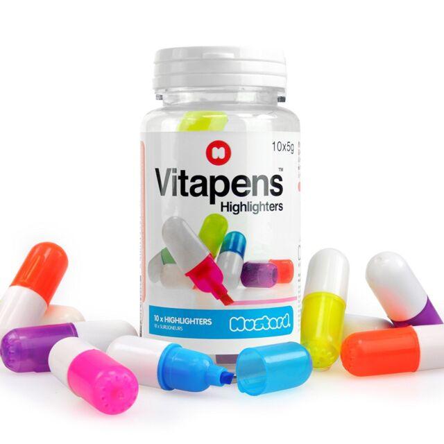 Novelty Multicoloured Vitapens Set of 10 Pack Highlighter Pens Capsules Pills