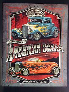 American Dream TIN SIGN Hotrod Vtg Car Metal Garage Wall Decor Bar ...