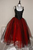 Womens Long Black Red Tutu Skirt 8 Lined Goth Fairy Gypsy Wedding Lagenlook