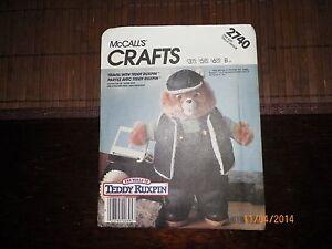 McCall039s Craft Pattern 2740 Travel Teddy Ruxpin NewUncut 1986 Vintage - Mesa, Arizona, United States - McCall039s Craft Pattern 2740 Travel Teddy Ruxpin NewUncut 1986 Vintage - Mesa, Arizona, United States