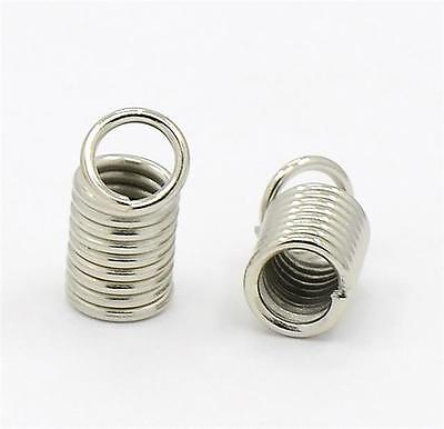 6 LARGE RIBBON END CRIMP CAPS BAIL TIPS 45mm x 7mm SILVER PLATED