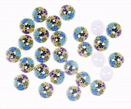 """15mm Scrapbook Crafts Lot of 20 FLOWERS White Wood Buttons 5//8/"""" 0885"""