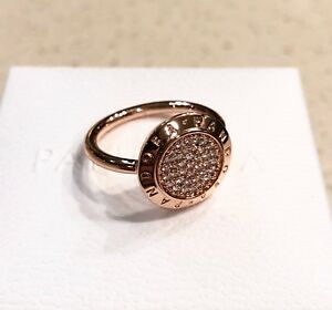 ebbf5ca6d14e3 Details about Pandora Signature Pave Rose Gold Ring #180912CZ +HINGED BOX  +Polishing Cloth