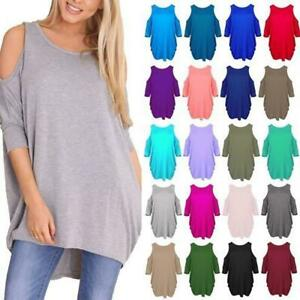 94cf6715417a Image is loading Womens-Ladies-Oversized-Baggy-Loose-Fit-Cold-Shoulder-