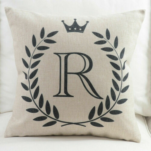 Letter Alphabet Cotton Linen Fashion Pillowcase Decorative Pillows Cushion