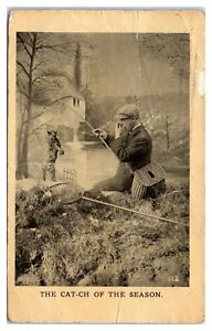 Early-1900s-Man-Catches-Dead-Cat-while-Fishing-Postcard