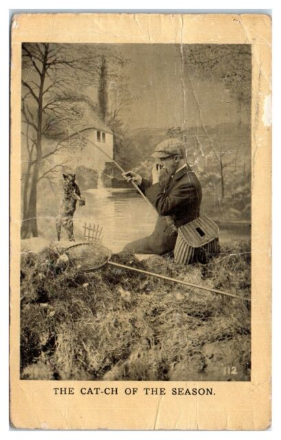 Early 1900s Man Catches Dead Cat while Fishing Postcard
